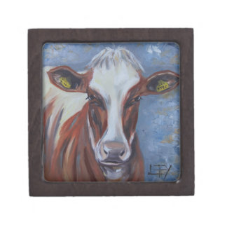 Cow Painting, Cow Decor, Cow Art, Dairy Cow Premium Trinket Box