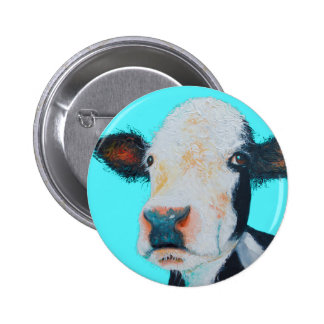 Cow painting on blue background button