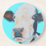 """Cow painting on blue background coaster<br><div class=""""desc"""">A beautiful black and white Hereford cow on a bright blue background. A talking point for your kitchen wall decor or nursery decor.</div>"""