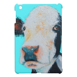 Cow painting on blue background iPad mini cases