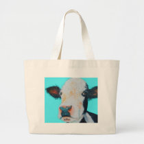 Cow painting on blue background large tote bag