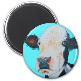 Cow painting on blue background magnet