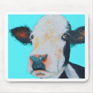 Cow painting on blue background mouse pad