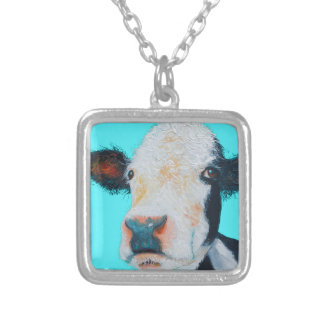 Cow painting on blue background silver plated necklace