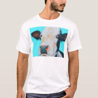 Cow painting on blue background T-Shirt