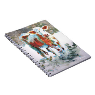 Cow Painting with dramatic unusual colors Note Books