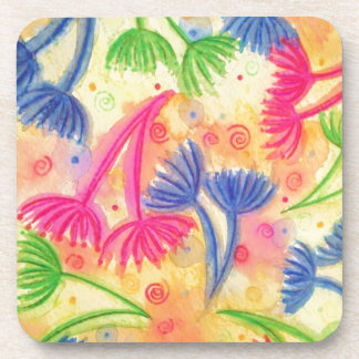 COW PARSLEY 2 - Cheerful Yellow Cherry Acid Green Beverage Coaster