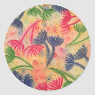 COW PARSLEY 3 - Happy Neon Pink Cherry Acid Green Classic Round Sticker