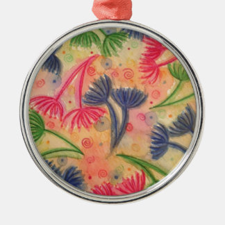 COW PARSLEY 3 - Happy Neon Pink Cherry Acid Green Metal Ornament