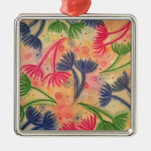 COW PARSLEY 3 - Happy Neon Pink Cherry Acid Green Square Metal Christmas Ornament