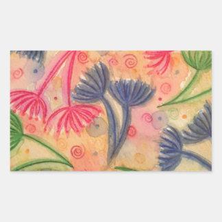 COW PARSLEY 3 - Happy Neon Pink Cherry Acid Green Rectangular Sticker