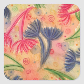 COW PARSLEY 3 - Happy Neon Pink Cherry Acid Green Square Sticker