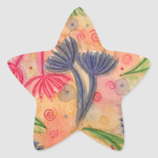 COW PARSLEY 3 - Happy Neon Pink Cherry Acid Green Star Sticker