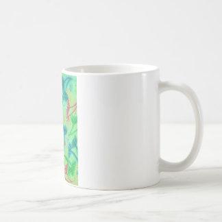 COW PARSLEY - Bright Cherry Acid Green Teal Blue N Coffee Mug