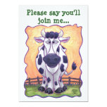 """Cow Party Center 5"""" X 7"""" Invitation Card"""