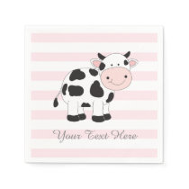 Cow Party Decor Paper Napkins Pink Striped