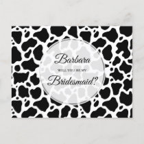 Cow Pattern Background Bridesmaid Card