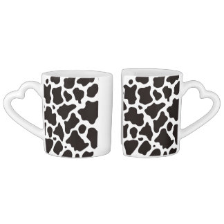 Cow pattern background couples coffee mug