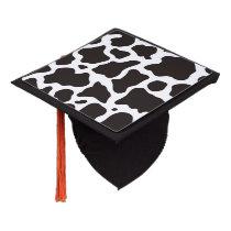 Cow pattern background graduation cap topper
