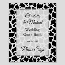 Cow Pattern Background Guest Book Sign Poster