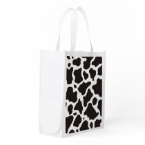 Cow pattern background reusable grocery bag