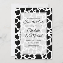 Cow Pattern Background Save the Date Announcement