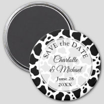 Cow Pattern Background Save the Date Magnet