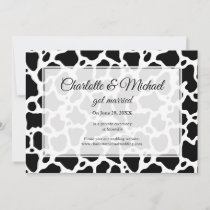Cow Pattern Background Wedding Announcement
