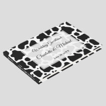 Cow Pattern Background Wedding Guest Book