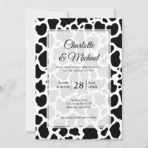 Cow Pattern Background Wedding Invitation