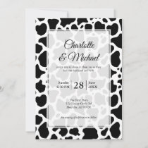Cow Pattern Background Wedding Invitation