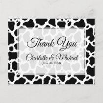 Cow Pattern Background Wedding Thank You Postcard