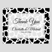 Cow Pattern Background Wedding Thank You Postcard