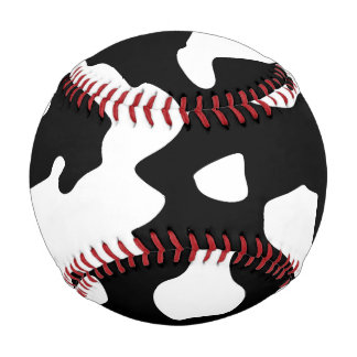 Cow Pattern Black and White Baseball