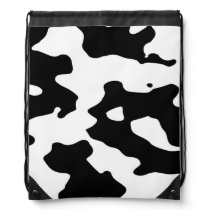 Cow Pattern Black and White Drawstring Backpack
