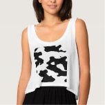 Cow Pattern Black and White Flowy Crop Tank Top
