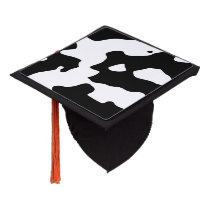Cow Pattern Black and White Graduation Cap Topper