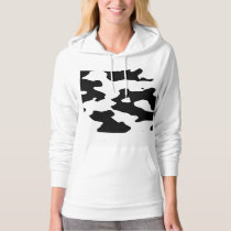 Cow Pattern Black and White Hoodie