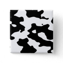 Cow Pattern Black and White Pinback Button