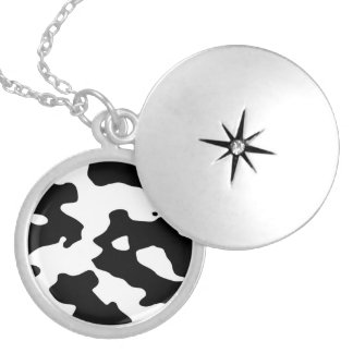Cow Pattern Black and White Silver Plated Necklace