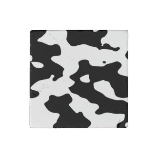 Cow Pattern Black and White Stone Magnet