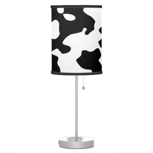 cow pattern black and white table lamp zazzle. Black Bedroom Furniture Sets. Home Design Ideas