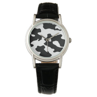 Cow Pattern Black and White Wrist Watches