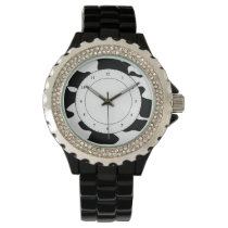 Cow Pattern Black and White Wristwatch