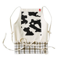 Cow Pattern Black and White Zazzle HEART Apron