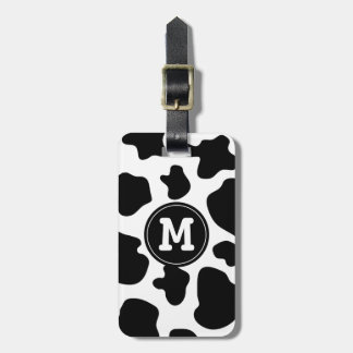 Cow pattern luggage tag | Monogrammed animal print