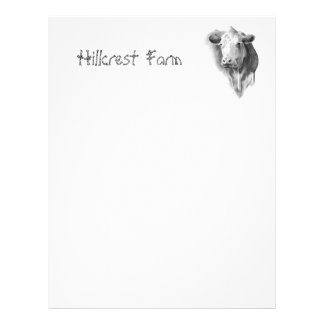 COW: PENCIL: FARM: LETTERHEAD