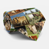 Cow Photo Collage, Neck Tie