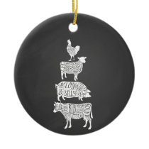 cow pig chicken butcher meat cuts art small holder ceramic ornament