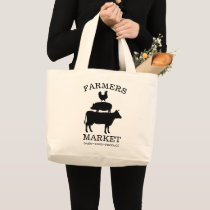 Cow Pig Chicken Farmers Market Large Tote Bag